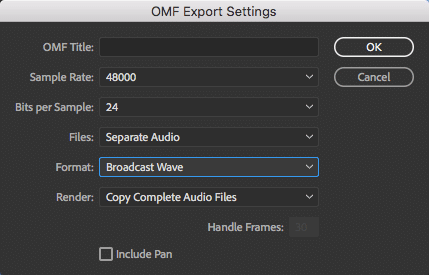 OMF export settings