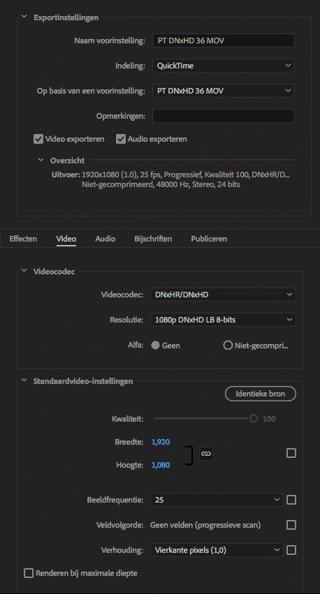 Video Settings DNxHD